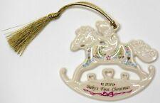 Lenox 2010 Babys 1st Christmas Rocking Horse Teddy Bear Ornament Bone China