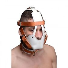 Strict Leather White and Tan Hospital Style Leather Muzzle Mask Bondage Kinky Ad