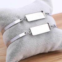 5Pcs Bracelet Base Blanks Stainless Steel Rectangle Cabochon DIY Jewelry Makings