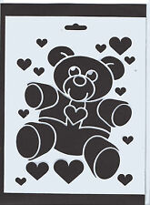 Plastic/pvc/coated / paper/stencil/teddy / bear/heart/hearts / design/new