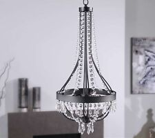 """24.8"""" Chandelier Black Iron & Clear Glass Accents NEW"""