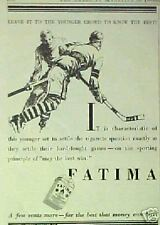 1927 Fatima Cigarettes Hockey Players Sports Memorabilia Promo Trade Art AD