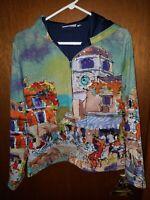 Michael Leu Womens City Scene Zip Hoodie Shirt Sz Medium Painting Rhinestones