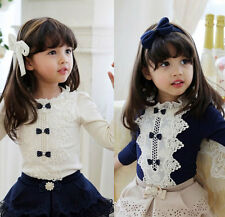 Kids Toddlers Girls Bowknot Long Sleeve Blouse Tops T-Shirts Shirts Ages 2-7Y