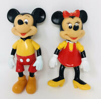 """Vintage Hong Kong Minnie and Mickey Mouse Plastic Figures 5 1/2"""""""