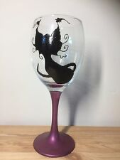 Hand Painted Gothic Black Witch Cat Large Washable Wine Glass Gift UK