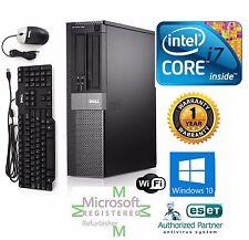 Dell 790 Desktop Computer Intel Core i7 Windows 10 hp 64 500gb HD 4gb Ram