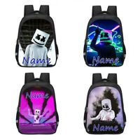 Marshmello Personalised School Bag Backpack Rucksack Reflective Kids Bday Gift