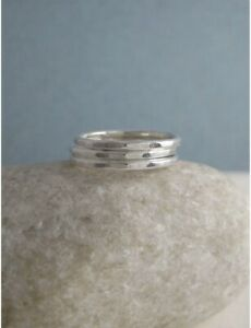 Set of X3 1.5mm Sterling Silver Hammered Stacking Rings Sizes H-Z Handmade UK