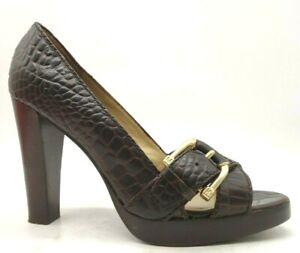 Michael Kors Brown Leather Crocodile Print Buckle High Heel Shoes Women's 7.5 M