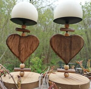 Rustic wooden candle holders with globe candles matching pair