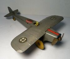 "1930's Girard Tin WWI British Monoplane Windup Toy 12""L Runs VG"