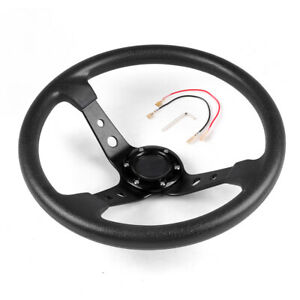 350mm 14inch Deep Dish 6 Bolt Racing Steering Wheel PU Leather Horn Button Black