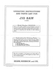 "1951 Craftsman 103.23151  18"" Jig Saw-Operating Instructions & Parts List"
