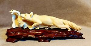 Antique Japanese Meiji Carved STAG ANTLER Fox & Goose Okimono Netsuke c1900