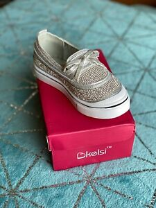Infants Girls Slip On Trainers Shoes Silver