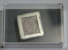 Silver stamp box with one Penny Lilac stamp 1881 in mint condition in case