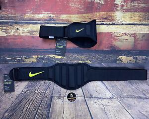 Nike Sz L Weightlifting Adjustable Gym Lifting Belt Black/Volt Bodybuilder NWT