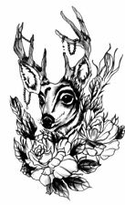 Deer Hipster Tattoo Large Temporary Black Rose Tattoo Stickers Men and Women