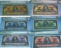 OSBORNE / TOWERS 1937 SET OF 6 NOTES $1 $2 $5 $10 $20 $50 PMG GRADED CANADA