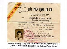 Arvn Republic South Vietnam 1965 National Police Smith Wesson Gun Permit