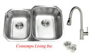 "32"" Stainless Steel Double 40/60 Bowl 18 Gauge Undermount Kitchen Sink Faucet"