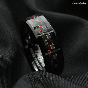 Men Tungsten Ring with Carbon Fiber 8mm Black and red Wedding Band ATOP jewelry
