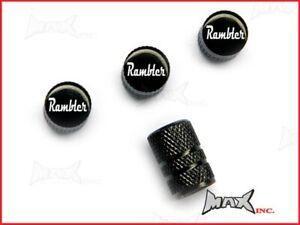 AMC RAMBLER - Set Of 4 Lasered Logo Aluminium Tire Valve Caps