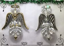 2 Handcrafted Christmas Tree Ornaments Rhinestones Faceted Glass Gold Silver