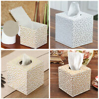 Square Leather Tissue Box Toilet Holder Cover Paper Case Home Car Hotel UK