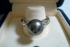 "Authentic ""MIKIMOTO"" platinum 10mm South Sea  Pearl  and 6 Diamond Ring"