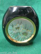 """Chokin Black Gold Edged Flower Vase """"Japan"""""""