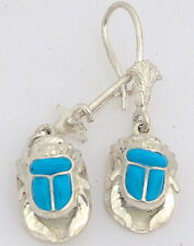 Scarab .925 Silver Earrings inlaid with Turquoise (Hallmarked)