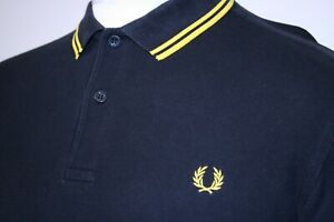 Fred Perry Twin Tipped Polo Shirt - L - Black/Bright Yellow - M3600 Iconic Top