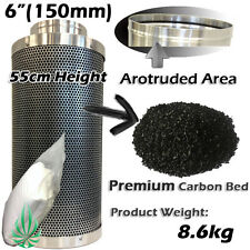 "2x 6"" ACTIVE CARBON FILTER 9.1kg 55cm HYDROPONICS GROW ROOM TENT ODOUR CONTROL"