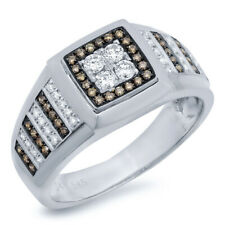 Mens 0.60CT 14K Whie Gold Natural Round White Champagne Diamond Fashion Ring