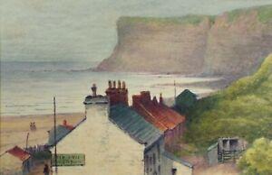 Original Watercolour, Huntcliff, Saltburn - circa 1909, Ship Inn in Foreground