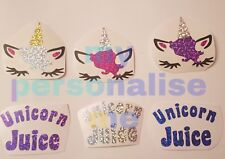 3x UNICORN FACE JUICE Vinyl Decal Sticker Mug Girls wine glass new pink mixed