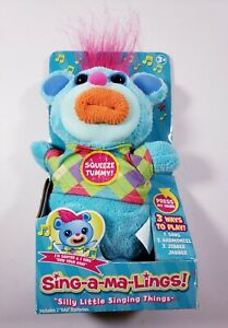 Funrise Sing-a-ma-Lings SAWYER Blue Plush Sings 'Row Your Boat' Silly Things NEW