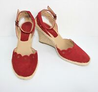 Womens Nine West Size 8M 8  Westport Red Suede Leather Wedge High Heel shoes