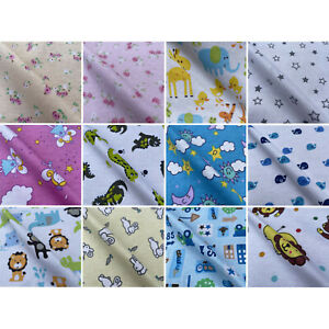 Brushed Winceyette Printed Cotton Woven Soft Fleece Fabric Flannelette Blanket