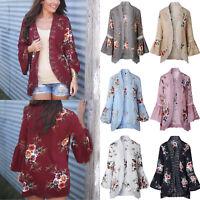 Ladies Floral Print Kimono Hollow Cardigan Waterfall Tops Coat Cardigan Outwear