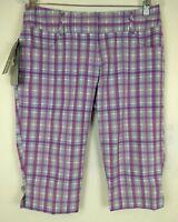 Adidas Golf Womens Climalite Shorts Size 4 Gray Plaid Bermuda Stretch Walking