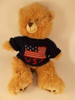 "The Bear Factory Bear With USA Sweater Stuffed Animal 2001 14"" Tall"