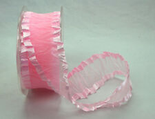Pale Pink Crinkled Satin Edge Organza Ribbon 38MM Wide
