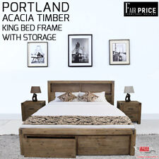 New Luxury Solid Acacia Timber Portland Espresso King Bed Frame With Storage
