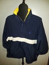 Mens vintage NAUTICA blue and yellow nylon hooded windbreaker coat. Sz XL/TG