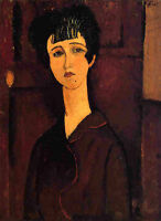 Oil painting amedeo modigliani - Victoria beautiful young woman figures canvas