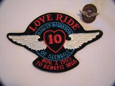 1993 HARLEY DAVIDSON MOTORCYCLE LOVE RIDE PATCH & PIN