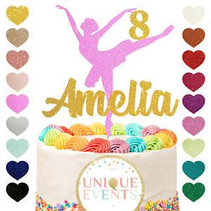 Ballerina cake topper name cake topper glitter topper ballet birthday 4 5 6 7 8